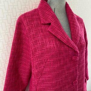 NWT Lili Sidonio Fuchsia Boucle Oversized Long Jacket Blazer